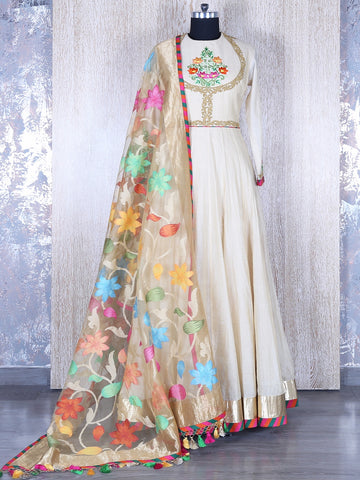 Designer Cotton Machine Work Off-White Semi Stitched Long Anarkali Suit