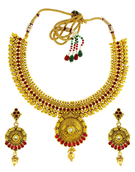 Designwer Jewellery Golden Colour Styled With Maroon Colour Royal Looking Traditional Classy Necklace Set For Women