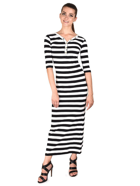 Latest Beautiful Five Stones Black & White Cotton Maxi Dress For Women