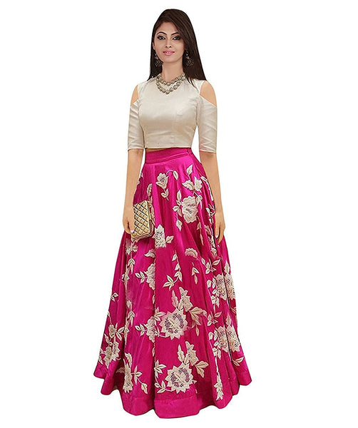 Western Gown Pink & Off- White Color Thread Embroidery Work Evening Gowns