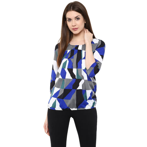 Blue Color Printed Tops For Girls Ladyindia61