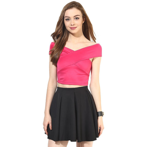 Latest Pink Color Bandage Bardot Crop Top For Girls Ladyindia95