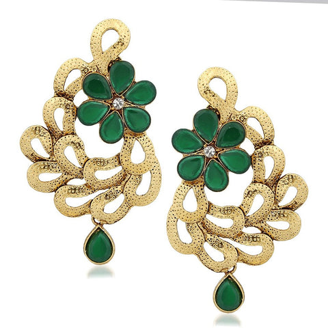 Designer Jewellery Gold Enticing Leafy Plated Alloy Drop Earring Set For Women & Girls