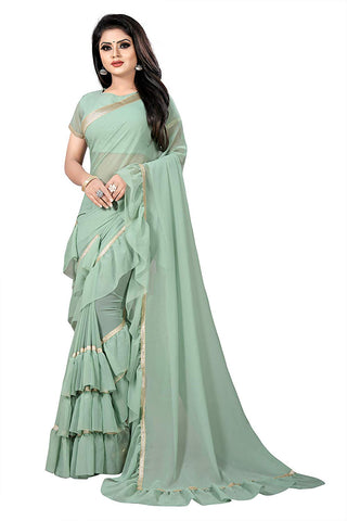 Georgette Light Green Ruffle Saree with Blouse