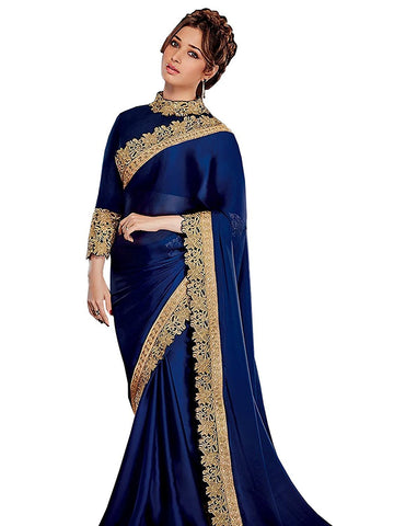 Holi Special Designer Tamannaah Bhatia Satin Border Work Blue Plain Saree For Women