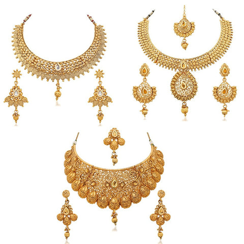 Gold Plated Combo Of 3 Necklace Earring Set For Women