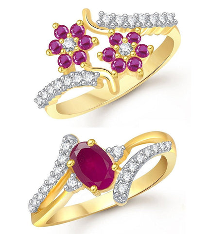 Designer Jewellery Lady Touch Combo Of Ruby 24k Gold Plated Cubic Zirconia Rings For Girls & Women