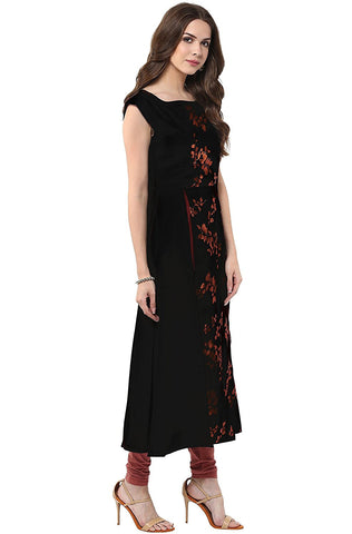 Black Anarkali Casual Crepe Kurti