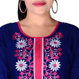Dark Blue Color Cotton Anarkali Kurtis With Embroidery Work A030