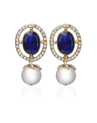 Designer Jewellery Pearls Blue Stone With Pearl Drop Earring  For Women