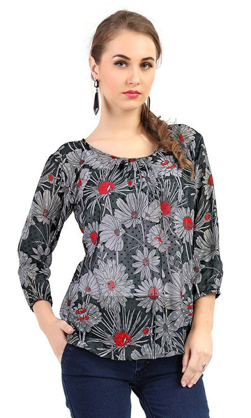 Multicoloured Boat Neck 3/4 Sleeve Chiffon Top Butti Digital Floral Print Western Top
