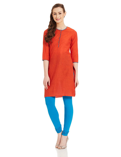 Orange Straight Short Plain Cotton Kurtis K86
