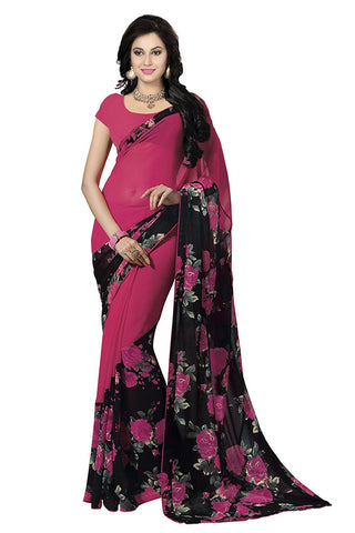 Designer Georgette Sarees With Rose & Leaf Print Work S076