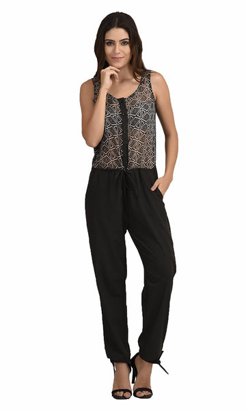 Awesome Black Jumpsuit With Diamond Print Work