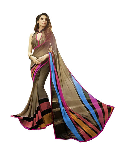 Designer Store Self Design Brown Georgette Printed Saree With Un-Stiched Blouse