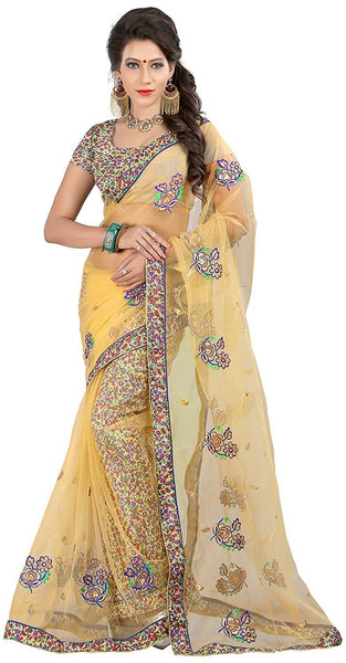 Party wear Beige Color Net Saree With Floral Embroidery Work
