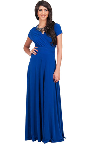 Latest Full Length Royal Blue Georgette And Crepe Evening Maxi dress For Women