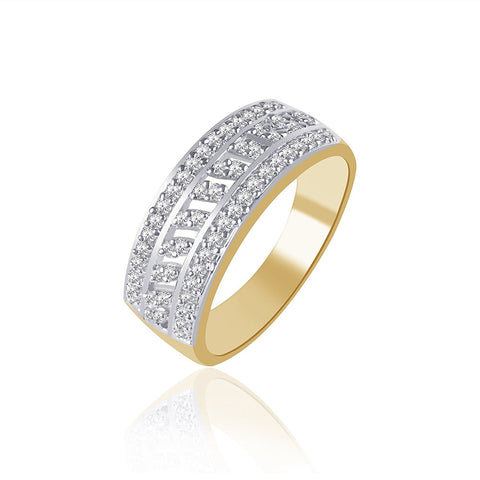Designer Jewellery Gold And Rhodium Plated Ring For Women