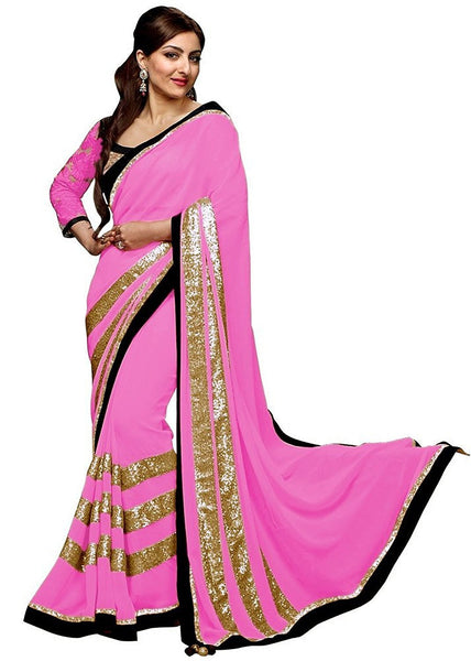 Sarees For Women Georgette Embroidery Saree With Blouse