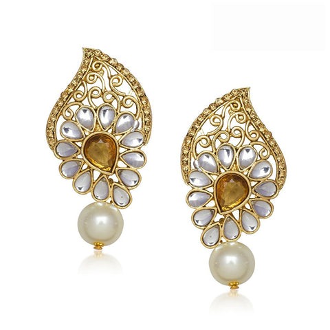 Designer Jewellery Gold Pearl Daimond Dangle & Drop Earrings For Women