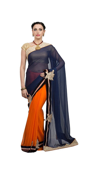 Latest Blue & Orange Georgette Saree With Golden Velvet Embroidery Border Fancy Saree