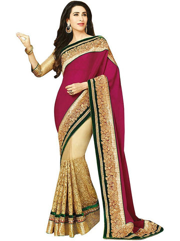 Designer Heavy Pink and Cream Karishma Kapoor Net & Chiffon Zari Saree Georgette Party Wear Saree