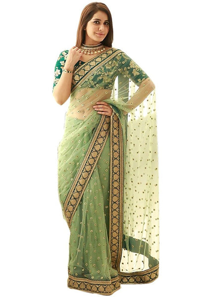 Green Color Designer Net Sarees With Booties & Border Work