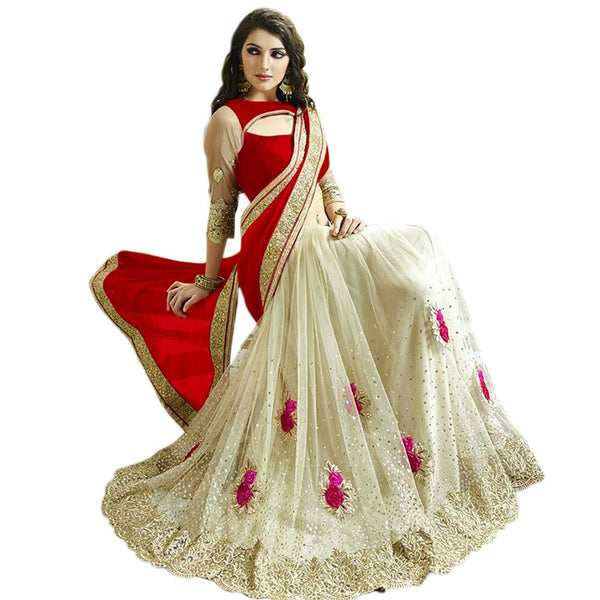 Party wear Red & Off White Color Net Saree With Floral Embroidery & Stone Work Designer Net Sarees