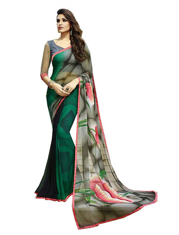 Designer Printed Georgette Sarees With Floral Work S013