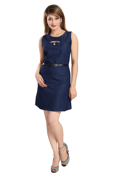 Designer Blue Color Slim Fit Denim Style Dress Sleeveless Midi Dresses For Girl