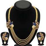 Designer Jewellery Gold Plated Multi Strand Necklace With Drop Earring For Women