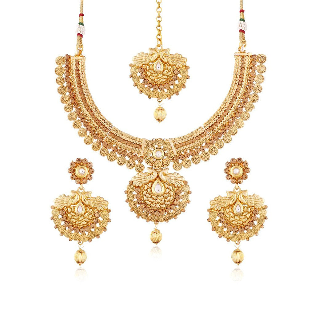 0c8305e1f68 24k Gold Plated Traditional Jewellery Set With Maang Tikka For Women