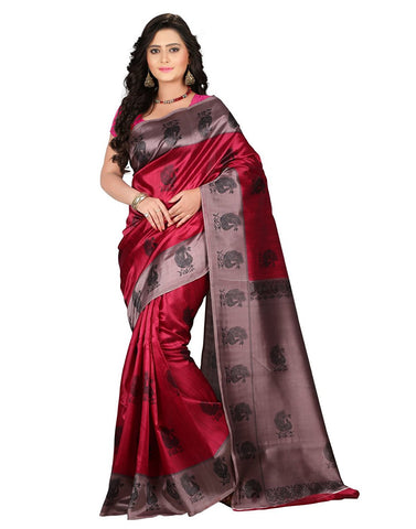 Red Bhagalpuri Art Silk Peacock Printed Silk Sarees For Women
