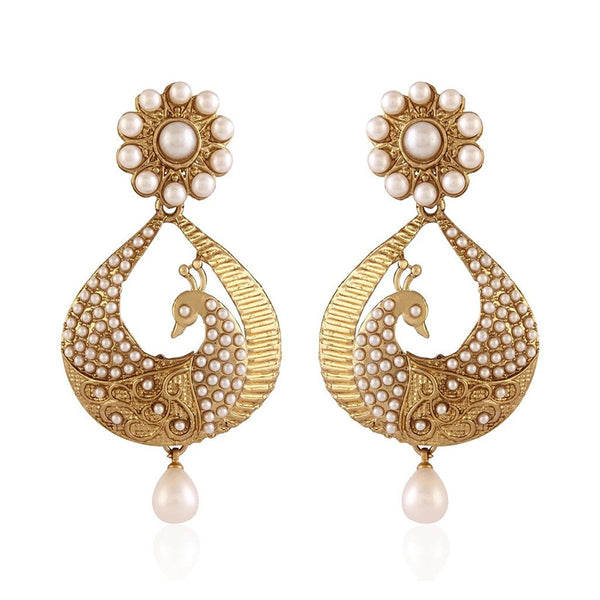 White Gold Plated Peacock Shaped Pearl Dangler & Drop Earring For Women