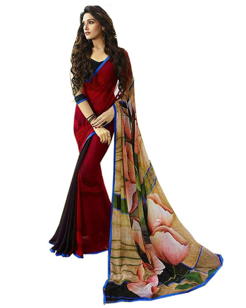 Fancy Designer Store Self Design Red Georgette Printed Saree With Un-Stiched Blouse