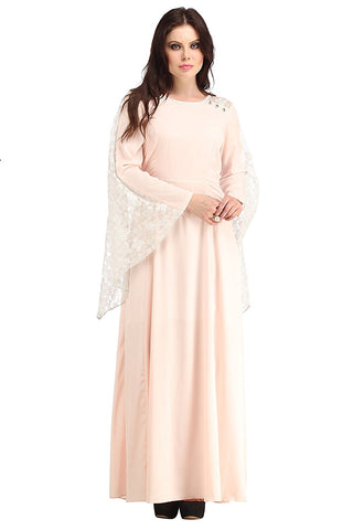 Fancy Designer Stylish White Lace Batman Cape In Back And Pink Crepe Kurti - Designer Kurtis