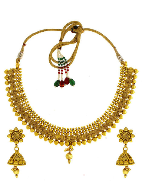 Designer Jewellery Golden Colour Very Classy Wonderful Shimmering Stone Traditional Classy Necklace Set For Women