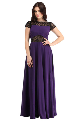 Latest Designer Purple/Black Crepe Flared Gown