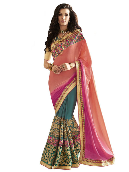 Wedding Saree Green-Georgette Pink & Peach Zari Embroidery,Stone,Sequins,Border,Beads Party Wear Saree