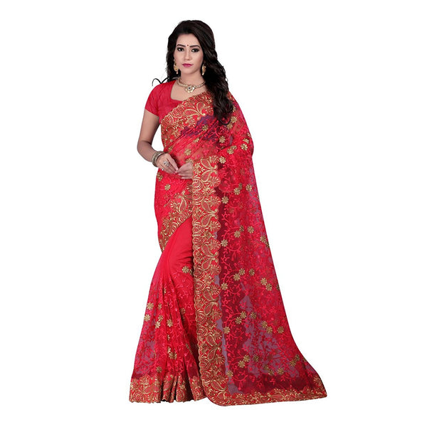 Designer Net Sarees Red Color Net Saree With Broad Border, Thread & Floral Work