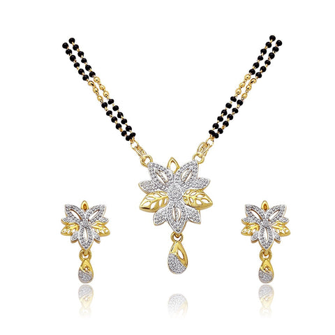 Designer Jewellery International Multicolor Rhinestone Mangalsutra With Earrings Set For Women