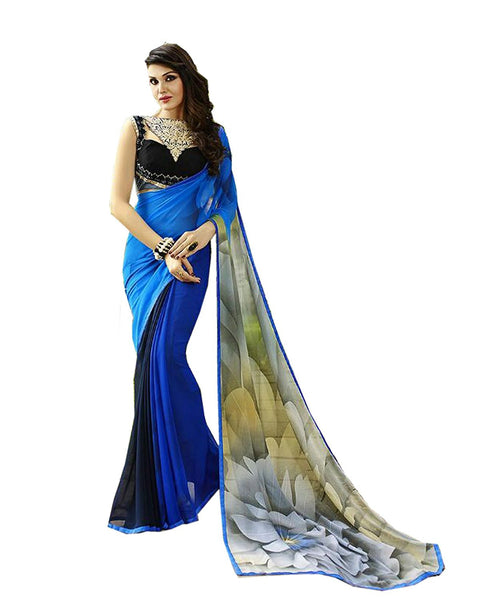 Designer Store Self Design Blue Georgette Printed Saree With Un-Stiched Blouse