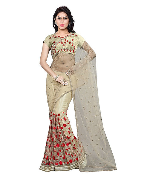 Off White Color Net Saree With Red Color Embroidered Floral & Booties Work Designer Net Sarees