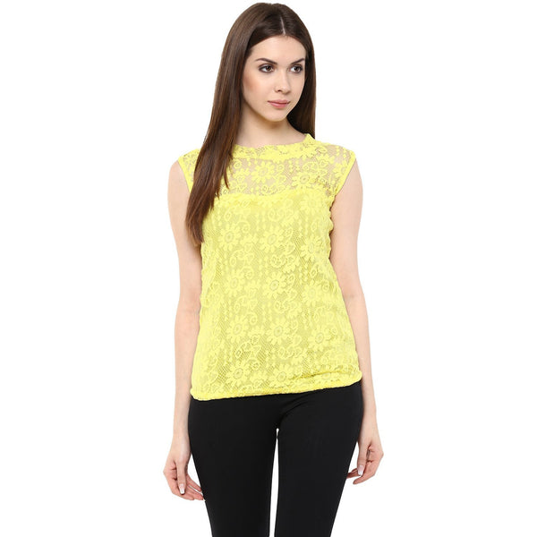 Designer Net Tops Light Yellow Color Stylish Net Tops With Floral Design Ladyindia77