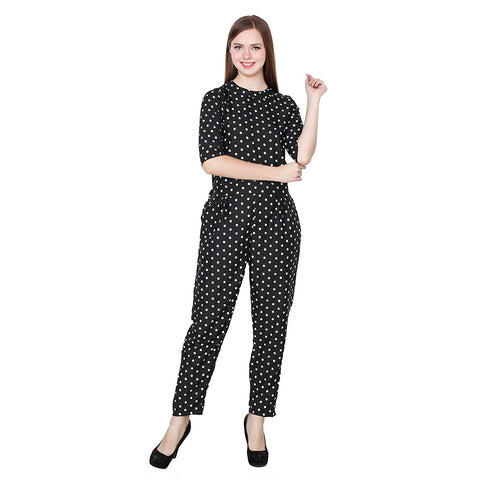 Black Jumpsuit With Polka Dot Printed Jumpsuits