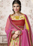 Partywear Designer Lehenga Saree Yellow & Pink Colored Net Heavy Embroidered Lehenga Choli