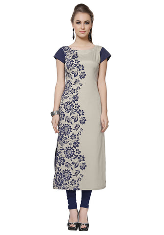 Designer Crepe Kurtis Light Grey And Blue Foil Print Long Crepe Kurtis