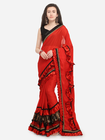 Plain Red Poly Crepe Ruffle Saree