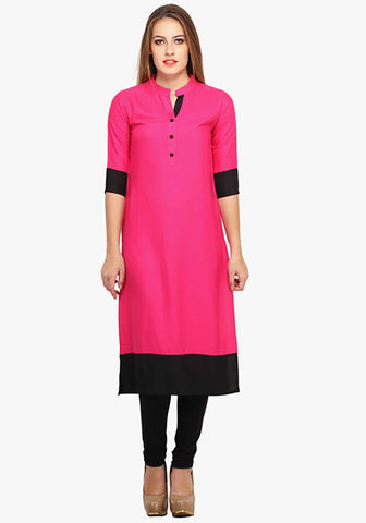 Pink Cotton Long Kurtis And Kurtas Ethnic Plain Cotton Kurti