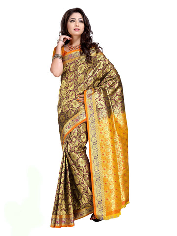 Designer Dark Magenta and Yellow Partywear Kanjivaram Art Silk Saree